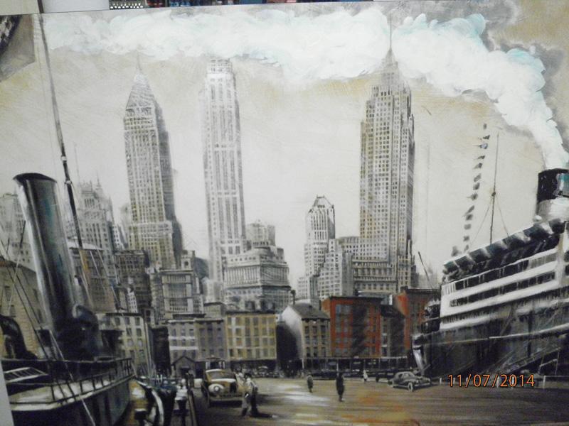 """Stampa """"Le due torri gemelli di New York"""" da effetto dipinto, su pannello in mdf ed incorniciata."""